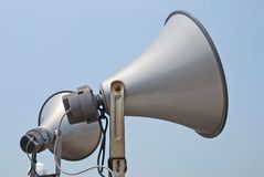 Megaphone speak to sky. Two megaphone speak to sky Royalty Free Stock Image
