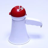 Megaphone speaker device, white red color, no logo Stock Photos