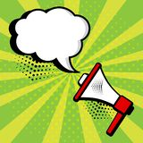 Megaphone and speech bubble on green background in pop art style. Vector stock illustration