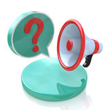 Megaphone with Speech Bubble and Question mark Royalty Free Stock Photos