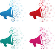 Megaphone Spirals Colors. Isolated megaphone spirals colors blue, red, green and pink Royalty Free Stock Image