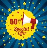 Megaphone stamp special offer discount star blue background. Vector illustration eps 10 Royalty Free Stock Image