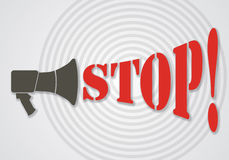 Megaphone with Stop text. Stock Photography