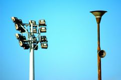 Megaphone on a street light Royalty Free Stock Image