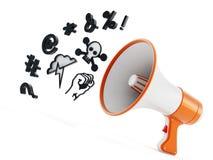 Megaphone with swearing symbols isolated on white background. 3D illustration Stock Photography