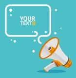 Megaphone text bubble card. Vector Stock Photos