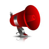 Red vector megaphone to amplify sound and ads Royalty Free Stock Photos