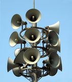 Megaphone Tower. Three megaphones point in each direction to announce warning messages Stock Photography