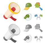 Megaphone, whistle and other attributes of the fans.Fans set collection icons in cartoon,monochrome style vector symbol. Stock illustration Stock Image