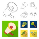 Megaphone, whistle and other attributes of the fans.Fans set collection icons in outline,flat style vector symbol stock. Illustration Stock Image