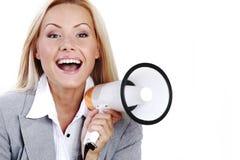 Megaphone woman. Business woman speak in megaphone Stock Photo