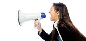 Megaphone woman Royalty Free Stock Photography