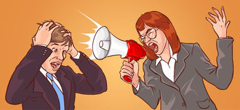 Megaphone Woman, Frustrated Man Royalty Free Stock Images
