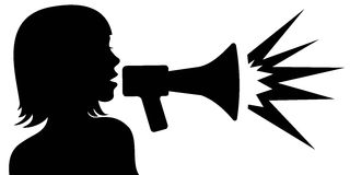 Megaphone woman silhouette Royalty Free Stock Photography