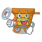 With megaphone wooden trolley character cartoon. Vector illustration stock illustration