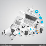 Megaphone  work style. set 2 Stock Images