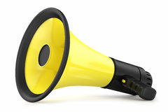 Megaphone yellow. With a black handle,  on a white background Stock Photos