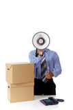 Megaphone, young African American businessman Stock Image