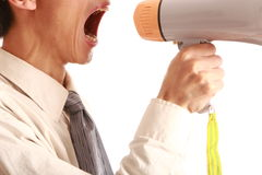 Megaphone young man. Young man Hand held megaphone isolated on white background Stock Photos