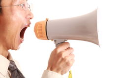 Megaphone young man Royalty Free Stock Images