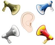 Megaphones θορύβου DIN αυτιών ζημίας ακρόασης διανυσματική απεικόνιση