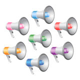 Megaphones Icon Set. Megaphones in Various Colors; Isolated Vector Illustration Stock Photo