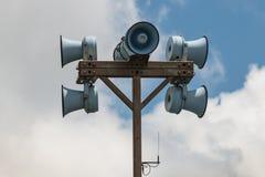 Megaphones on pole Royalty Free Stock Photography