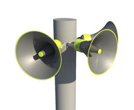 Megaphones on a post Royalty Free Stock Images