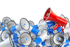 Megaphones. Promotion and advertising, digital marketing or soci Royalty Free Stock Photos