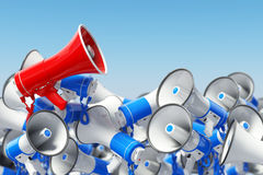 Megaphones. Promotion and advertising, digital marketing or soci Royalty Free Stock Image