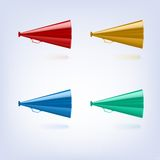 Megaphones set different colors Stock Images