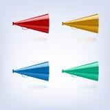 Megaphones set different colors Stock Images