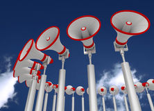 Megaphones on sky background  3d illustration Stock Photography