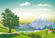 Megapolis berg i bakgrunden Royaltyfri Fotografi