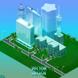 Megapolis 3d isometric three-dimensional view of the city. Collection of houses, skyscrapers, buildings, built and supermarkets stock illustration