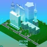 Megapolis 3d isometrisk tredimensionell sikt av staden Samling av hus, skyskrapor, byggnader som byggs och supermarket stock illustrationer