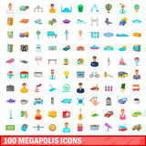 100 megapolis icons set, cartoon style. 100 megapolis icons set in cartoon style for any design vector illustration Stock Photography