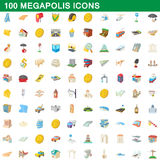 100 megapolis icons set, cartoon style. 100 megapolis icons set in cartoon style for any design vector illustration Stock Images