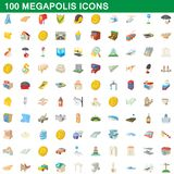 100 megapolis icons set, cartoon style. 100 megapolis icons set in cartoon style for any design illustration stock illustration