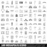 100 megapolis icons set, outline style Stock Photography