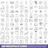 100 megapolis icons set, outline style Royalty Free Stock Photography