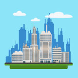 Megapolis Landscape with Modern Buildings of Big City Royalty Free Stock Photography