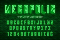 Free Megapolis Neon Light Alphabet, Realistic Extra Glowing Font Royalty Free Stock Images - 107001019