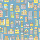Megapolis seamless pattern. Background of  buildings city. Stock Photo
