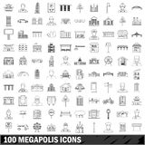 100 megapolis icons set, outline style. 100 megapolis set in outline style for any design illustration royalty free illustration