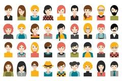 Megareeks diverse die mensenhoofden, avatars op witte achtergrond wordt geïsoleerd Verschillende kleren, haarstijlen stock illustratie
