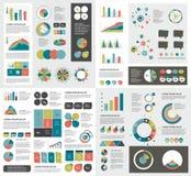 Megareeks grafieken van infographicselementen, grafieken, cirkelgrafieken, diagrammen Stock Foto