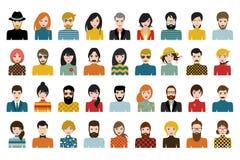 Megareeks personen, avatars, de verschillende nationaliteit van mensenhoofden in vlakke stijl stock illustratie