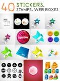 Megareeks stickers, zegels en Webdozen Royalty-vrije Stock Foto