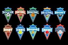 Megareeks van het kleurrijke voetbal van sportenemblemen, voetbal, basketbal, volleyball, hockey, rugby, tennis, waterpolo, veenm stock fotografie